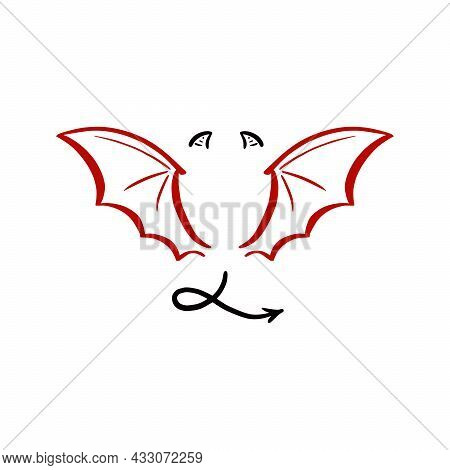 Devil Stylized Vector Illustration. Devil With Wing And Tail. Hand Drawn Line Sketch Style.