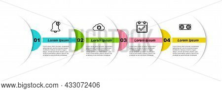 Set Line Bell, Cloud Sync Refresh, Calendar With Check Mark And Stereo Speaker. Business Infographic