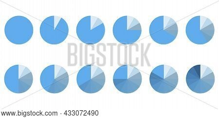Chart Icon. Segment Infographic. Set With Circle Parts.white Background. Blue Circle. Vector Illustr