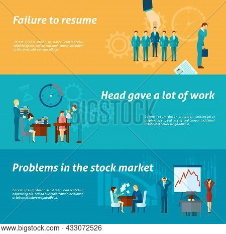 Stress At Work Horizontal Banner Set With  People Overloaded With Paperwork Elements Isolated Vector