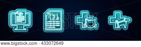 Set Line Clinical Record Pet On Monitor, Medical Certificate For Dog Cat, Veterinary Clinic And . Gl