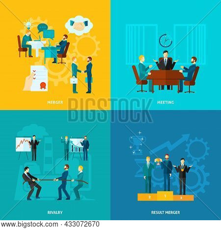 Collaboration Design Concept Set With Meeting Rivalry Result Merger Flat Icons Isolated Vector Illus