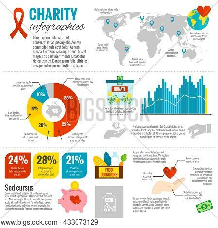 Charity And Donations Infographic Set With Diagrams Charts And Arrows Flat Vector Illustration