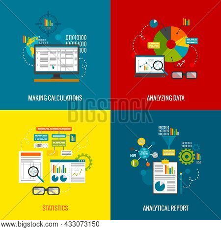 Data Analytics Design Concept With Making Calculations Statistics And Analytical Report Flat Icons S