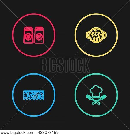Set Line Sponge With Bubbles, Chef Hat And Fork, Cooking Soup In Pot And Salt Pepper Icon. Vector