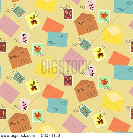 Postage Envelopes And Stamps With Autumn Leaves. Seamless Pattern On A Beige Background. Vector Illu