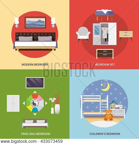 Bedroom Furniture Design Concept Set With Modern Feng Shui Children Flat Icons Isolated Vector Illus