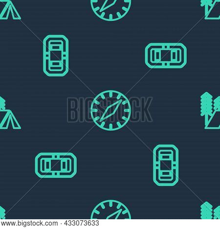 Set Line Compass, Rafting Boat And Tourist Tent On Seamless Pattern. Vector