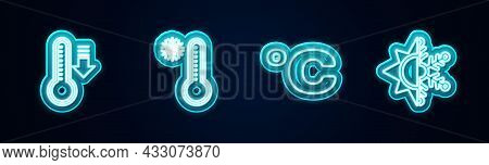 Set Line Meteorology Thermometer, , Celsius And Sun And Snowflake. Glowing Neon Icon. Vector