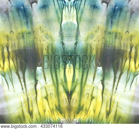 Fine Symmetrical Artistic Watercolor Painting. Abstract Fantasy Background For Original Design. Yell
