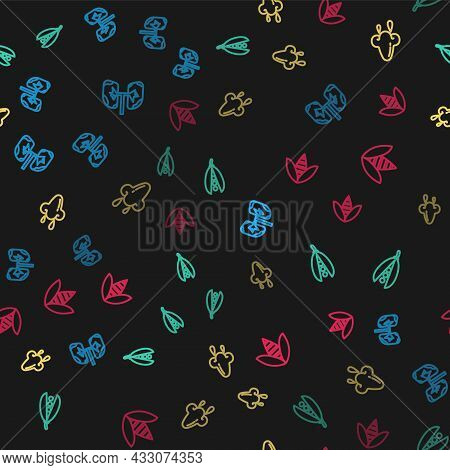Set Line Lungs, Kidney Beans, Runny Nose And Bee On Seamless Pattern. Vector