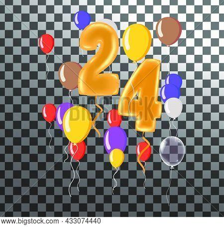 Happy Birthday Twenty Four Year, Fun Celebration Anniversary Greeting Card With Number, Balloon On B