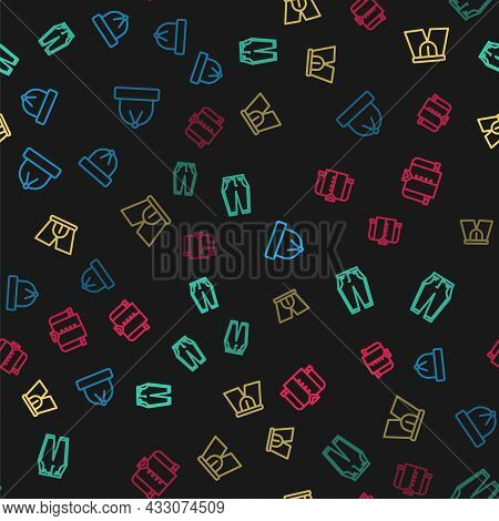 Set Line Winter Hat, Pants, Men Underpants And T-shirt On Seamless Pattern. Vector