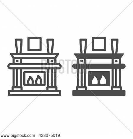 Fireplace, Fireside In Living Room Line And Solid Icon, Interior Design Concept, Chimney Vector Sign