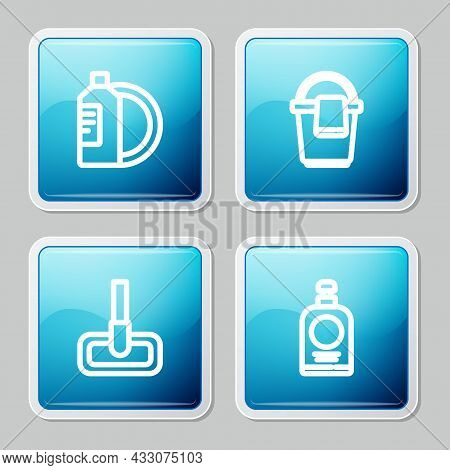 Set Line Dishwashing Liquid Bottle And Plate, Bucket With Rag, Mop And Hand Sanitizer Icon. Vector