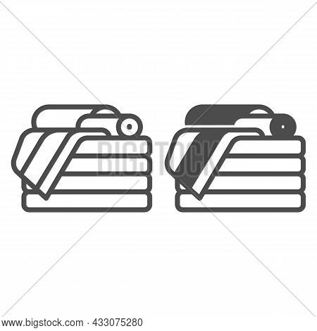Stack Of Towels Line And Solid Icon, Interior Design Concept, Stack Of Folded Towels Vector Sign On