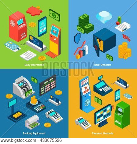 Banking Design Concept Set With Daily Operations Deposits Equipment Payment Methods Isometric Icons