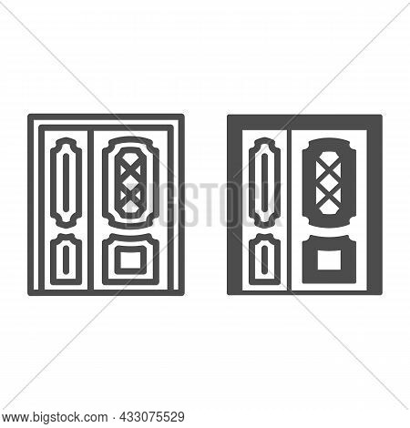 Front Door Line And Solid Icon, Interior Design Concept, Main Entrance Vector Sign On White Backgrou