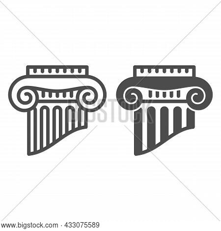 Fragment Of Greek Column Line And Solid Icon, Interior Design Concept, Part Of Ancient Column Vector