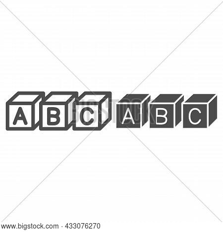 Abc Cubes Alphabet Line And Solid Icon, Linguistics Concept, Toy Cubes With Letters Vector Sign On W