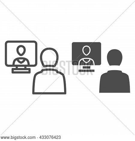 Distance Learning, Online Communication Line And Solid Icon, Connection Concept, Online Meeting Vect