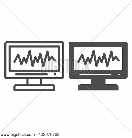 Sound Level On Monitor Line And Solid Icon, Sound Design Concept, Sound Wave Curve On Screen Vector