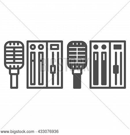Microphone And Sound Controller Line And Solid Icon, Music Concept, Mic And Audio Mixer Vector Sign