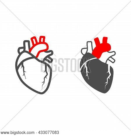 Heart Valve Problem Line And Solid Icon, Body Pain Concept, Heart Valves Disease Vector Sign On Whit