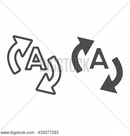 Letter A With Two Arrows, Translation Line And Solid Icon, Linguistics Concept, Interpretation Vecto