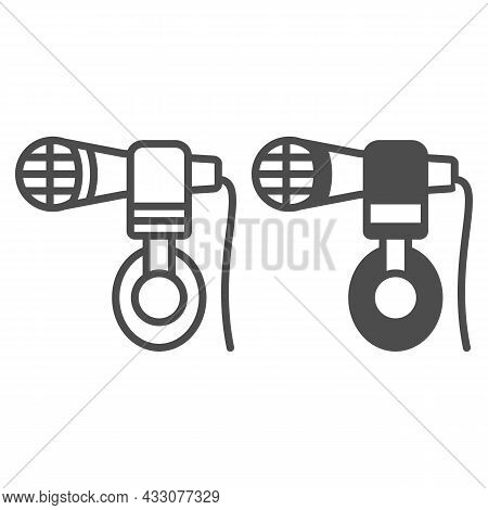 Headphones Hang On Microphone Line And Solid Icon, Sound Design Concept, Mic And Headset Vector Sign