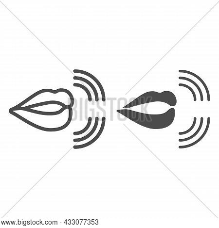 Mouth, Lips, Pronunciation Of Sounds Line And Solid Icon, Linguistics Concept, Phonetics Speech Vect