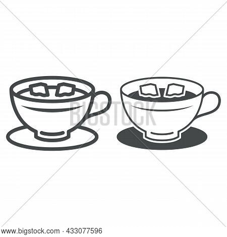 Cup Of Coffee With Lumps Of Sugar On Saucer Line And Solid Icon, Hot Beverages Concept, Mug Vector S