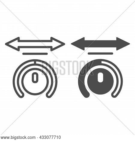 Sound Balance With Arrow Line And Solid Icon, Sound Design Concept, Audio Volume Balance Vector Sign