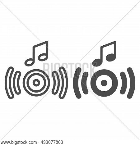 Music From The Speaker, Sound Wave And Note Line And Solid Icon, Sound Concept, Loudspeaker Vector S