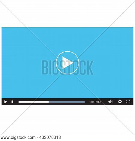 Blue Flat Video Player Bar On White Background. Video Player Interface Sign. Video Player For Web An
