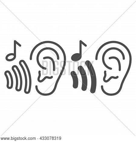 Ear With Sound Wave And Note, Listen To Music Line And Solid Icon, Sound Design Concept, Hear Vector