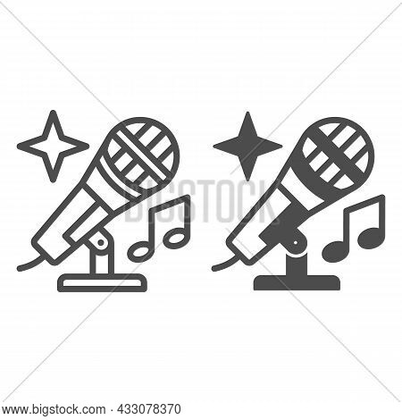 Microphone With Note And Shiny Star Line And Solid Icon, Sound Design Concept, Mic Vector Sign On Wh