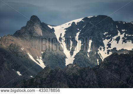 Snow-covered Mont Blanc De Courmayeur. Mountains Of Italy, Alps.