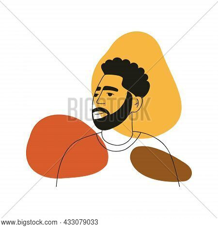 Abstract Line Drawing Aesthetic Portrait Man With Stylish Hairstyle. Minimalist Concept With Modern