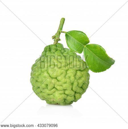 Bergamot Fruit Isolated On The White Background.