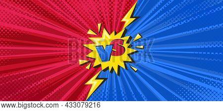Superhero Halftoned Poster With Lightning. Versus Comic Design With Yellow Flash. Vector Illustratio