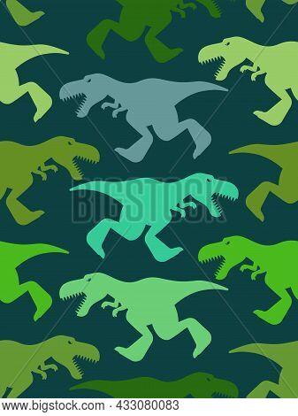 Dinosaur Tyrannosaur Pattern Seamless. T-rex Background. Dino Baby Fabric Texture
