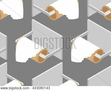 Last Piece On Toilet Paper Roll Pattern Seamless. Latest Sheet Of Toilet Paper Background