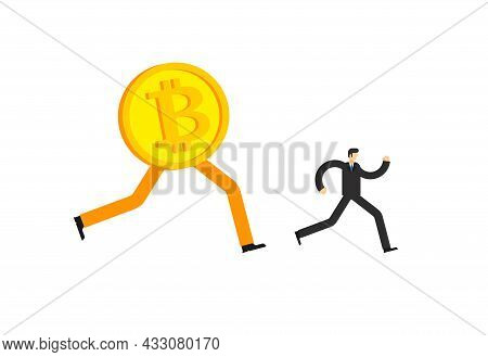 Bitcoin Is Running After Cryptoinvestor. Concept Increase In Value Of Cryptocurrencies. Electronic M