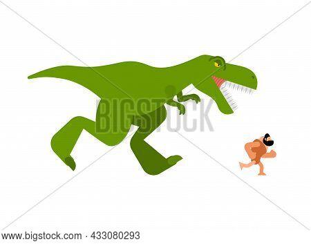 Dinosaur And Prehistoric Man. T-rex And Ancient Man