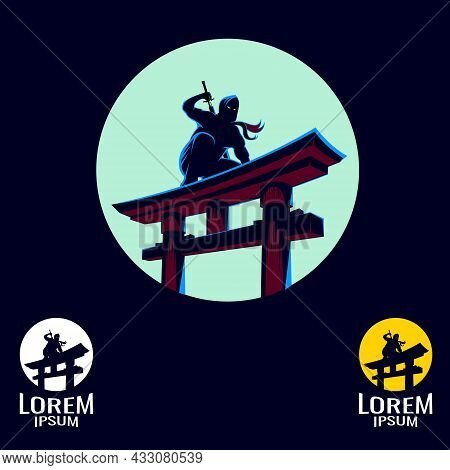 Ninja Lurking At The Top Of The Gate, Waiting To Ambush The Target. For Logo, Design Element, Tshirt