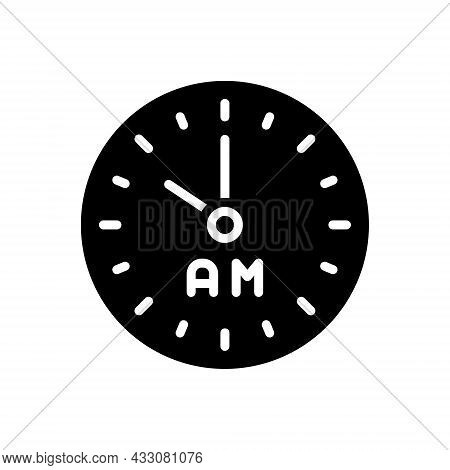 Black Solid Icon For Am Morning Clock Watch Timer Timepiece Horologe Ante-meridiem Alarm Time Analog