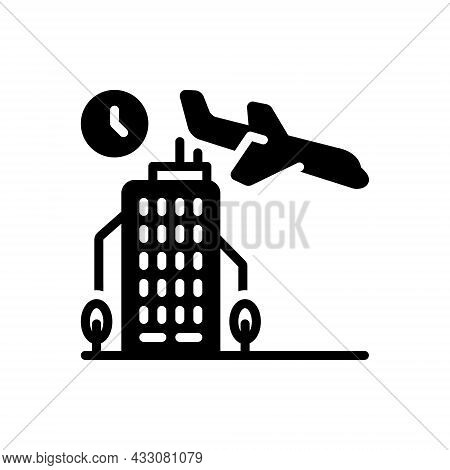 Black Solid Icon For Arrival Coming Airplane Landing Aircraft Airliner Advent Appearance Entrance En