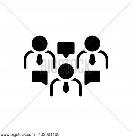 Black Solid Icon For Discuss Dissert Argue Debate Talking Communication Conversation Chitchat Parley