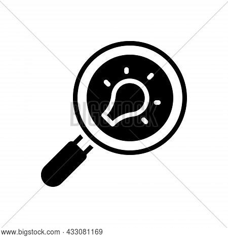 Black Solid Icon For Discovery Detection Finder Search Quest Find Magnifying Analysis Inspection Lou